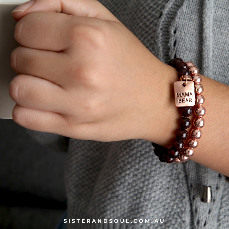 Bracelet Duo! Rose Gold & Garnet bead bracelet stacker set - MAMA BEAR (10853)