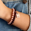 Bracelet Duo! Rose Gold & Garnet bead bracelet stacker set - LOVE (10363)