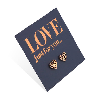 Stainless Steel Earring Studs - Love Just For You - Geo Hearts