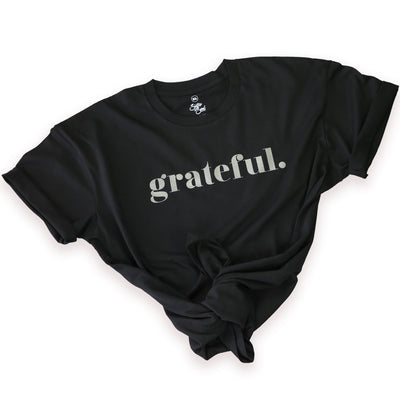 GRATEFUL - Black Long Boxy PLUS Size Tee - Charcoal Shimmer Print