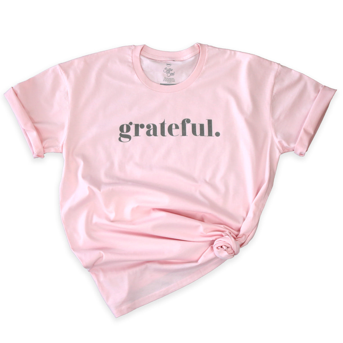 GRATEFUL - Pink Long Boxy Plus Size Tee - Charcoal Shimmer Print