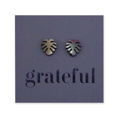 Stainless Steel Earring Studs - Grateful - MONSTERA LEAF