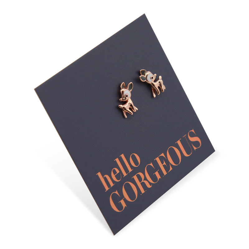 Bambi Rose Gold Sterling Silver Studs - Hello Gorgeous