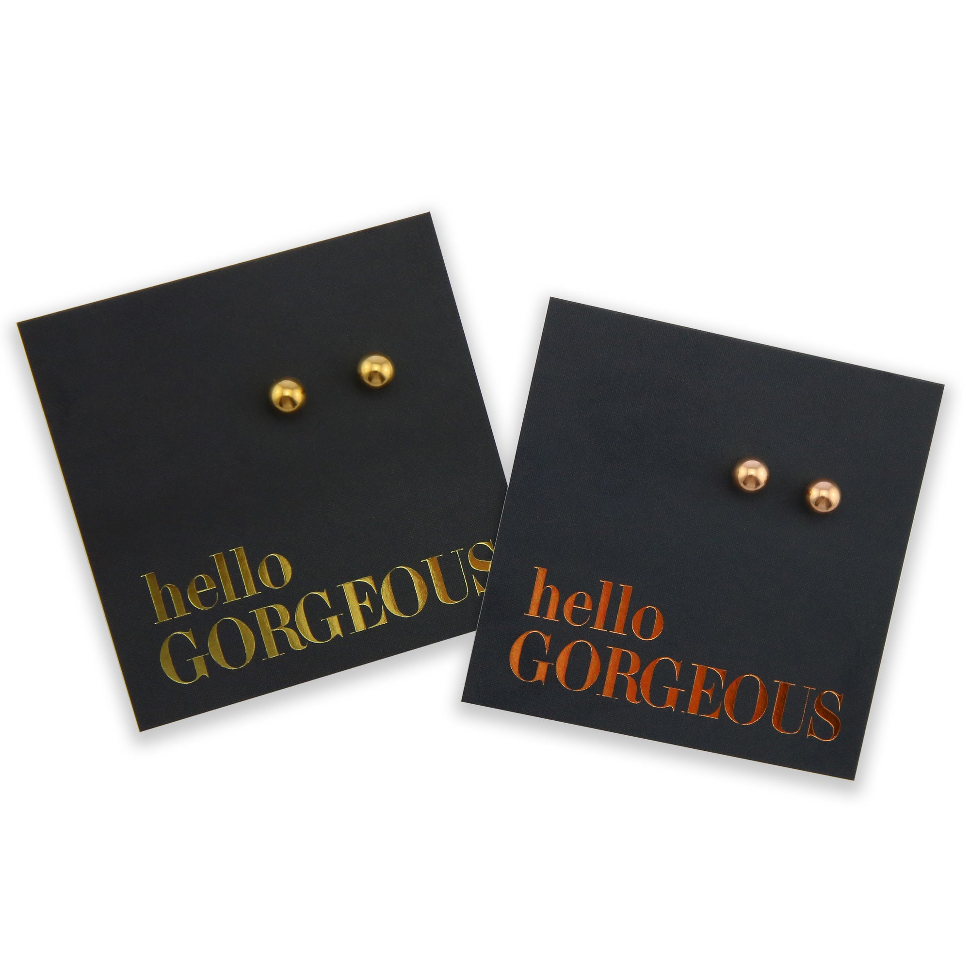 Stainless Steel Ball shape earrings. Hypoallergenic studs in Rose Gold, Silver, Black & Gold. Star shaped. Beautiful Gifts by Sister and Soul. Foil feature gift card Girl you are amazing.