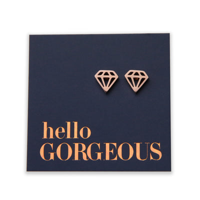Stainless Steel Geo Diamond shape earrings. Hypoallergenic studs in Rose Gold, Silver, Black & Gold. Star shaped. Beautiful Gifts by Sister and Soul. Foil feature gift card Girl you are amazing.