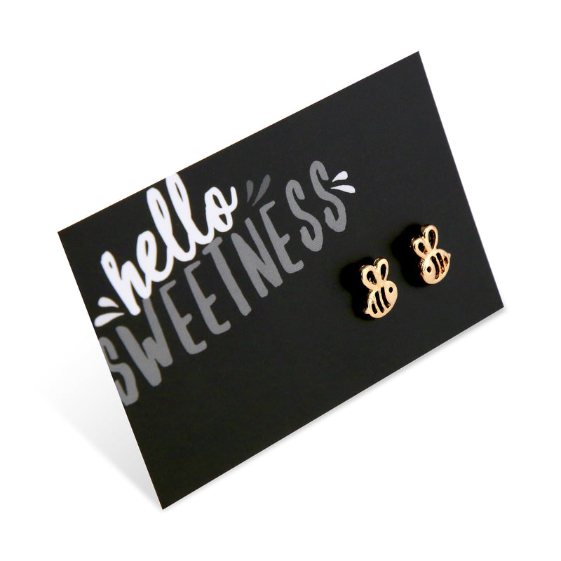 Hello Sweetness! Bumble Bee Earring Studs - Gold (9812)