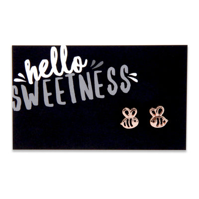 Hello Sweetness! Bumble Bee Earring Studs - Rose Gold (8413)