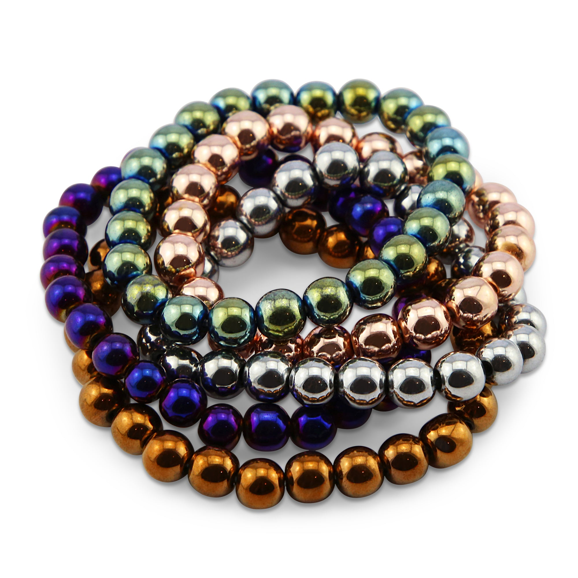 Hematite Metallic Stacker Bracelets - 8mm Beads (7-011)