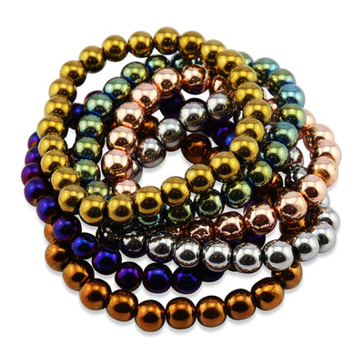 Hematite Metallic Stacker Bracelets - 8mm Beads