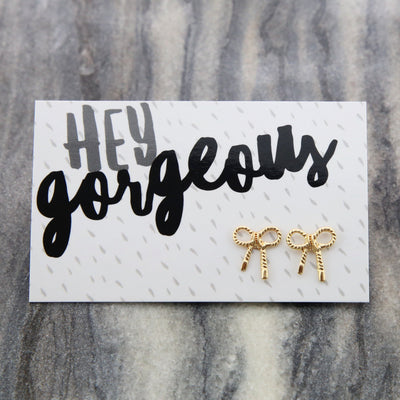 Hey Gorgeous! Gold ' Put a Bow on it ' Earrings (9606)