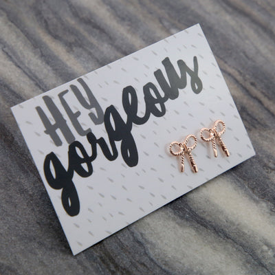 Hey Gorgeous! - Rose Gold ' Put a Bow on it ' Earrings (9607)