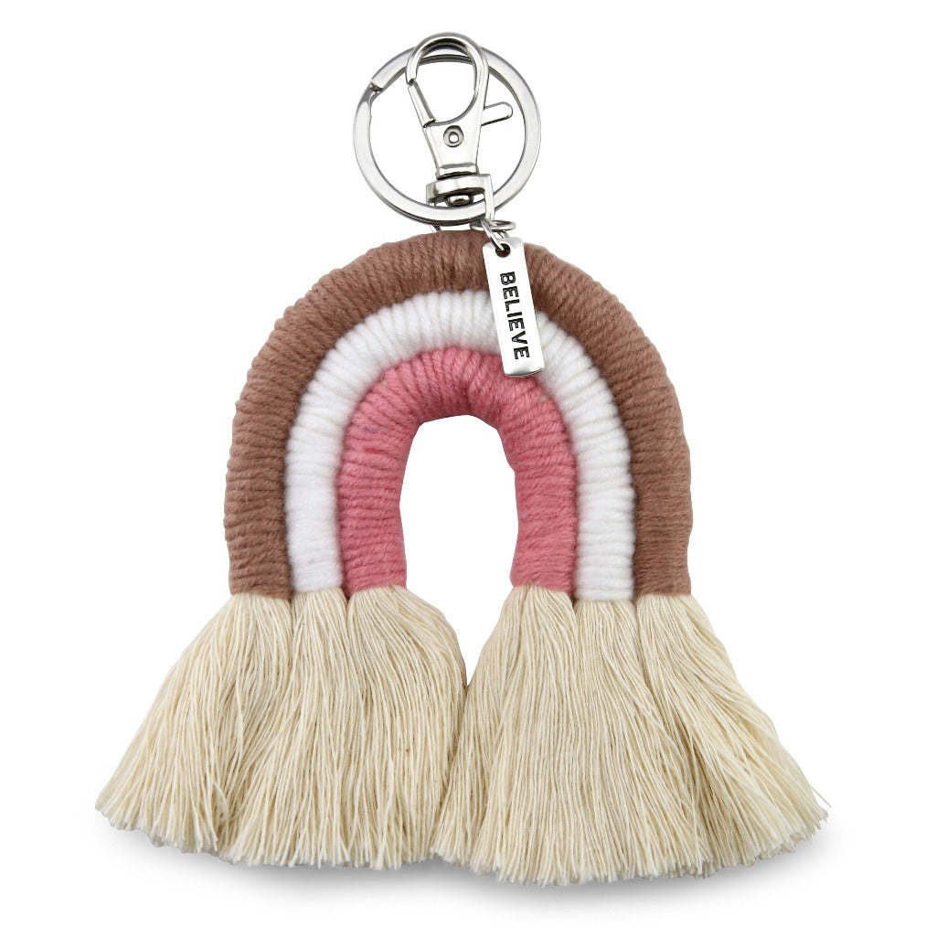 Handwoven Rainbow Keyring / Bag Accessory ' BELIEVE ' in Silver - LAUREN (7007-1)