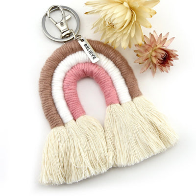 BOHO Collection - Handwoven Rainbow Keyring / Bag Accessory ' BELIEVE ' in Silver - Softy  (S02-1)
