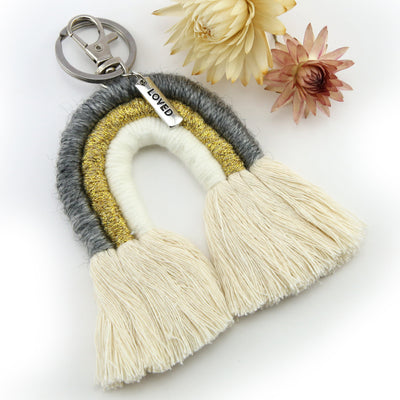 BOHO Collection - Handwoven Rainbow Keyring / Bag Accessory 'LOVED' in Silver - Gold/Grey  (S05-2)