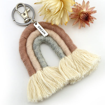 Handwoven Rainbow Keyring / Bag Accessory ' DREAM ' in Silver - LISSA  (7007-2)
