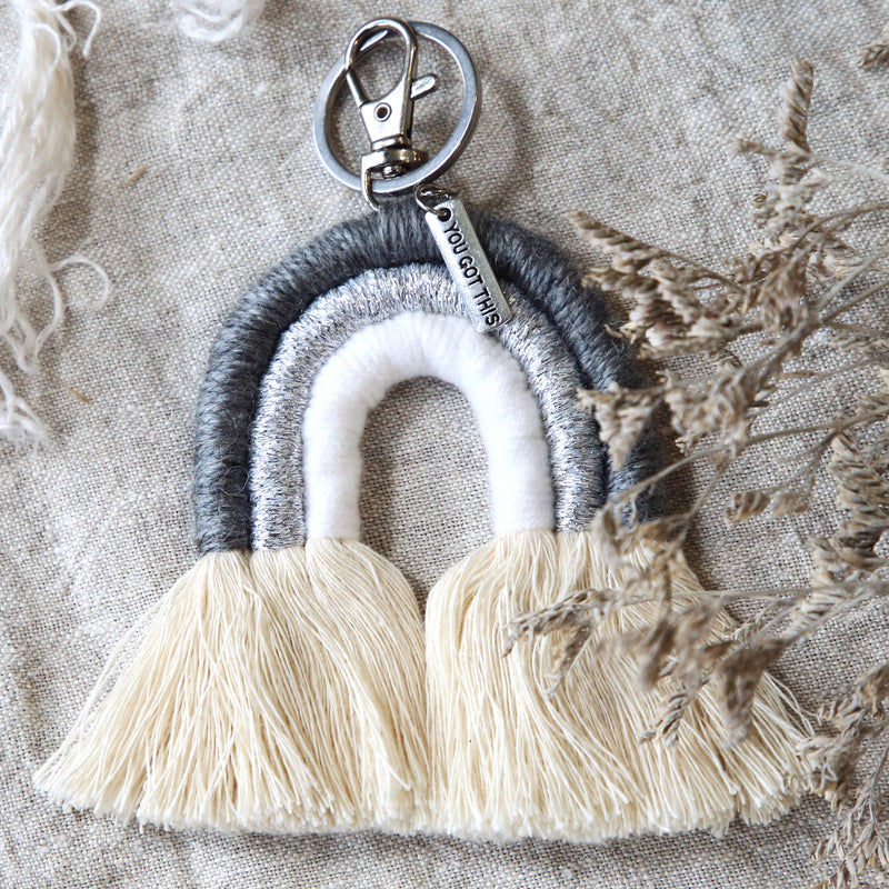BOHO Collection - Handwoven Rainbow Keyring / Bag Accessory ' YOU GOT THIS ' in Silver - Silver/Grey  (S05-3)