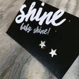 Shine Baby Shine! - Tiny Star Studs  - Brushed look Silver Earrings (9412)