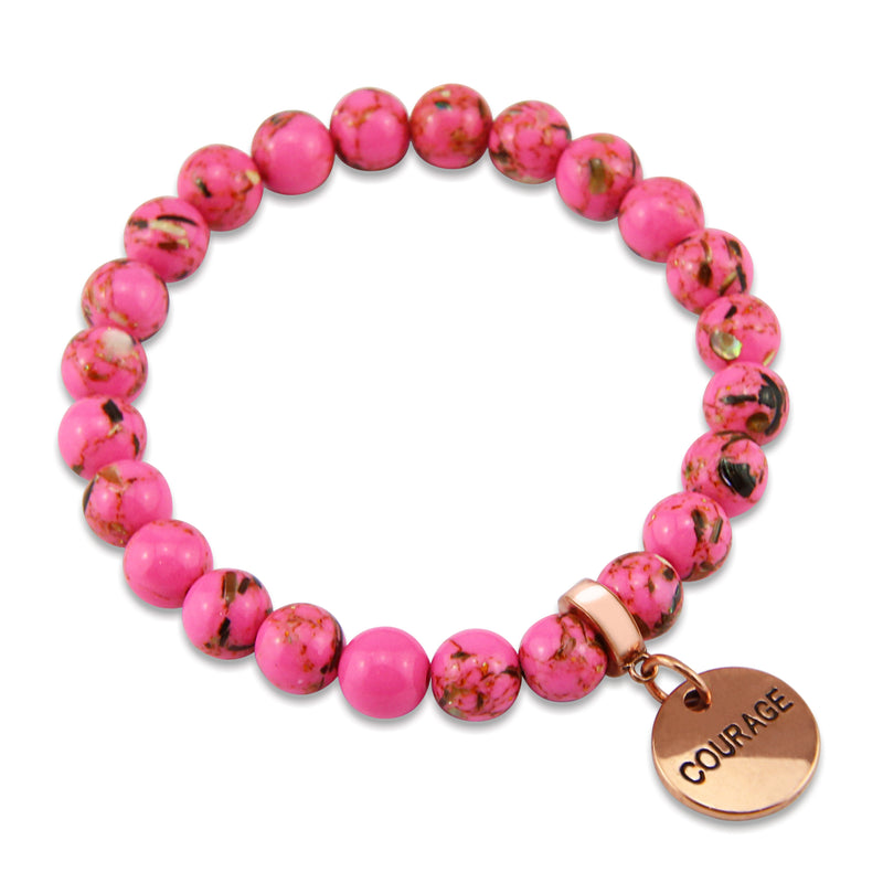 PINK COLLECTION - Hot Pink Synthesis 8mm Bead Bracelet  -  Rose Gold Word Charms