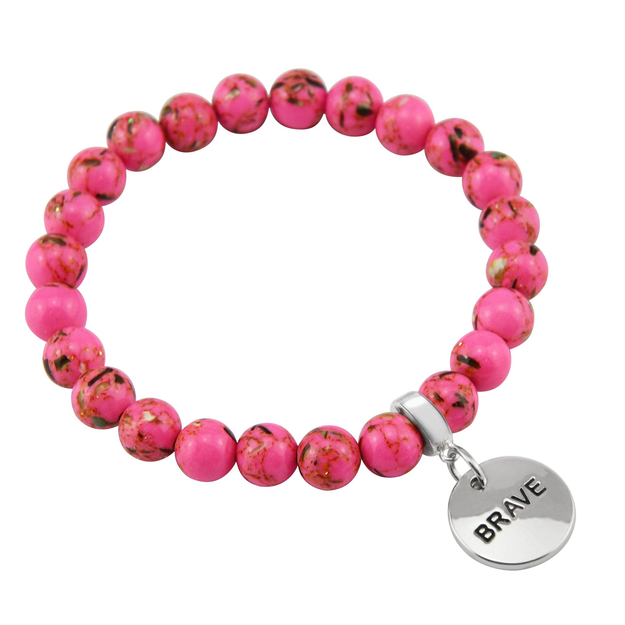 PINK COLLECTION - Hot Pink Synthesis 8mm Bead Bracelet  -  Silver Word Charms