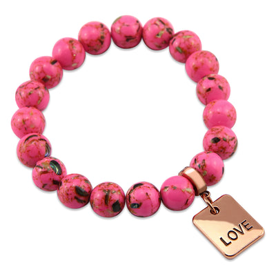 PINK COLLECTION - Hot Pink Synthesis 10mm Bead Bracelet  -  Rose Gold Word Charms