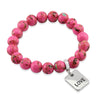 PINK COLLECTION - Hot Pink Synthesis 10mm Bead Bracelet  -  Silver Word Charms