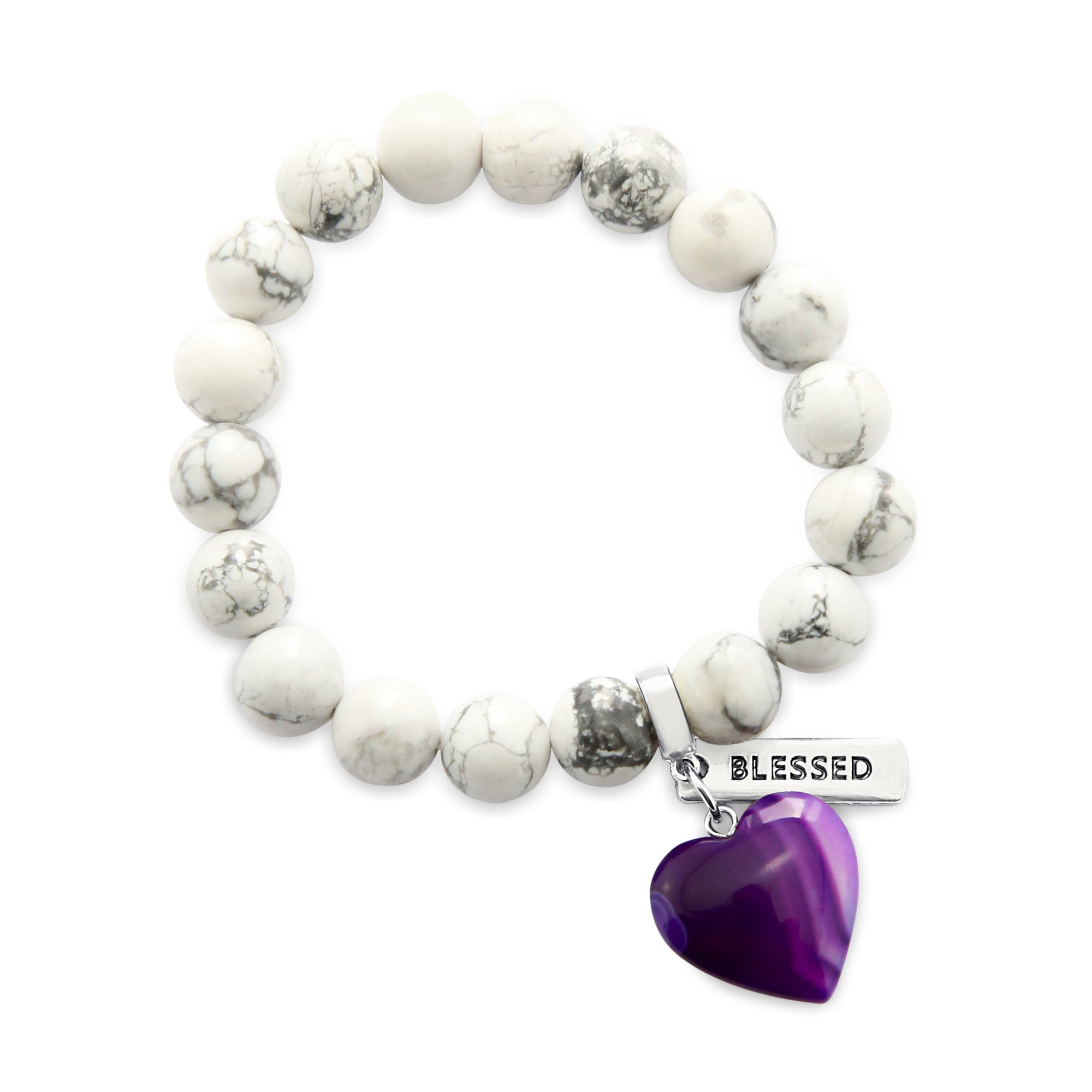 SWEETHEART Bracelet - 10mm WHITE MARBLE with Purple Striped Agate heart charm & Word Charm