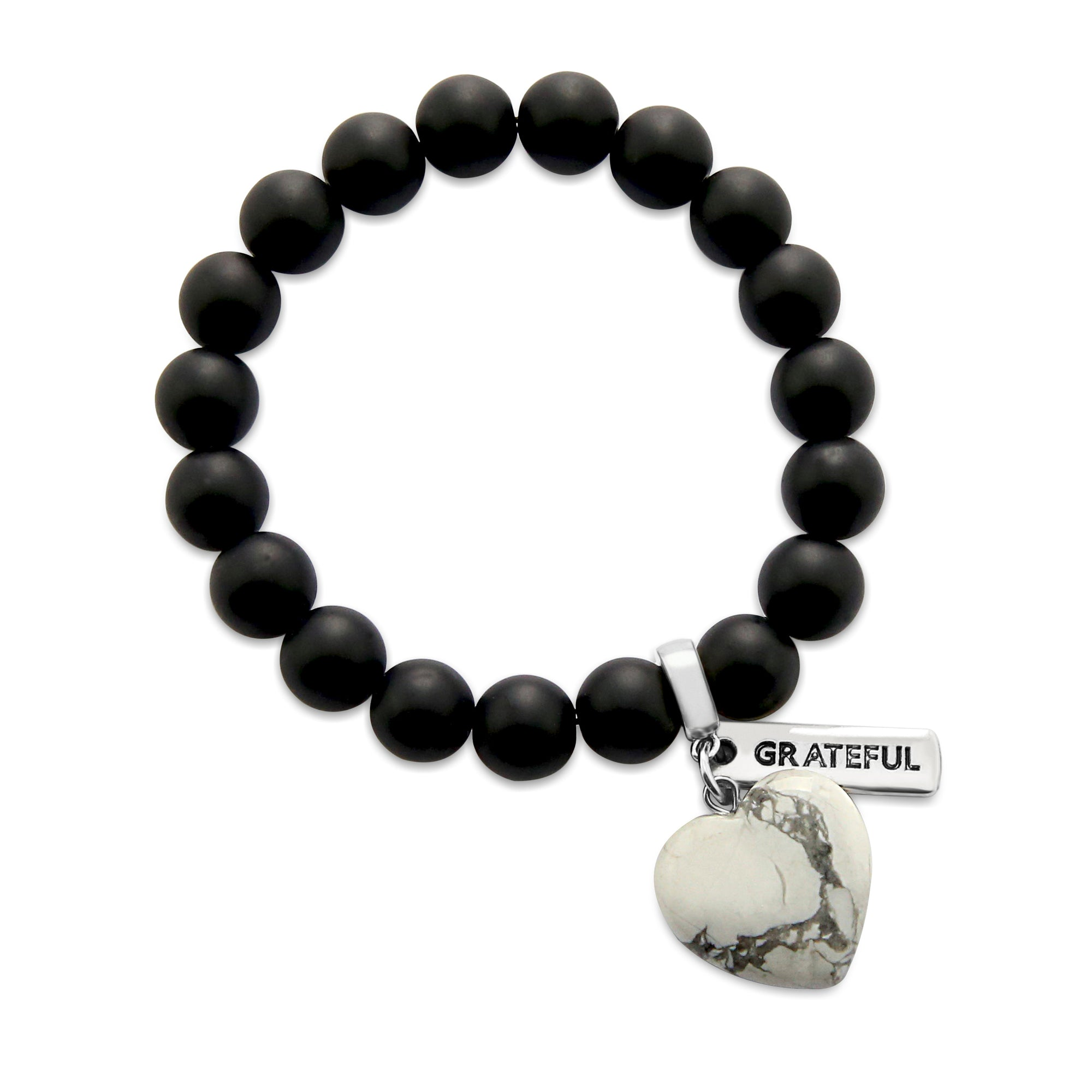 SWEETHEART Bracelet - 10mm MATT BLACK ONYX stone beads with WHITE MARBLE Heart & Word Charm