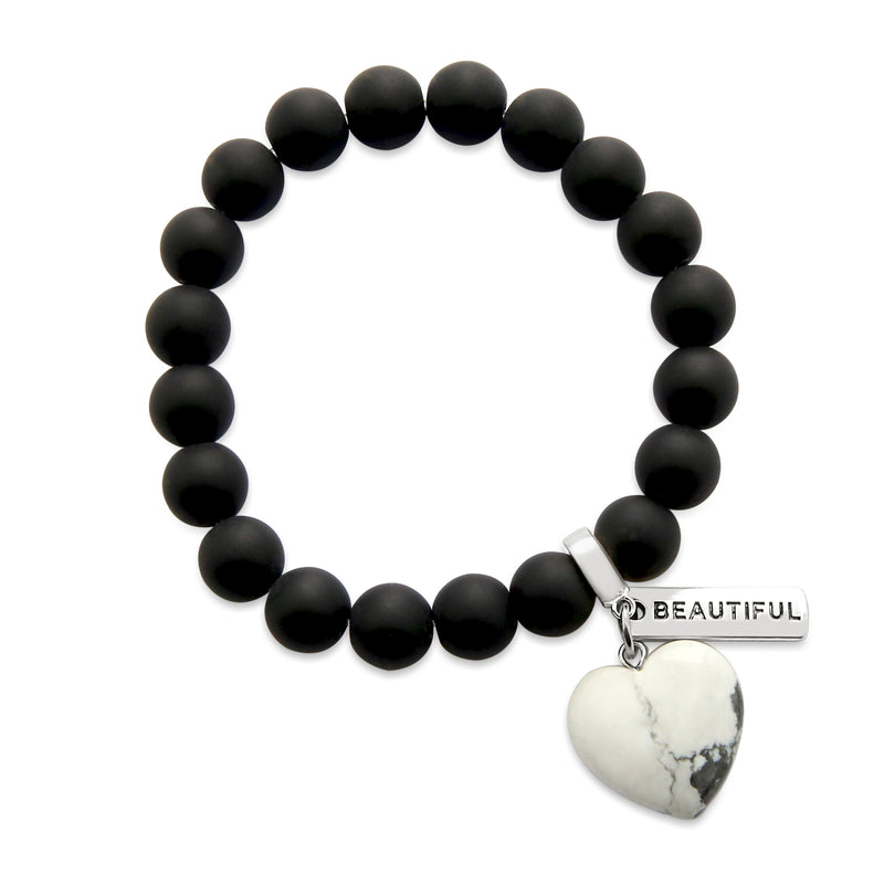 SWEETHEART Bracelet - 10mm MATT BLACK ONYX stone beads with WHITE MARBLE Heart & Word Charm (5010)