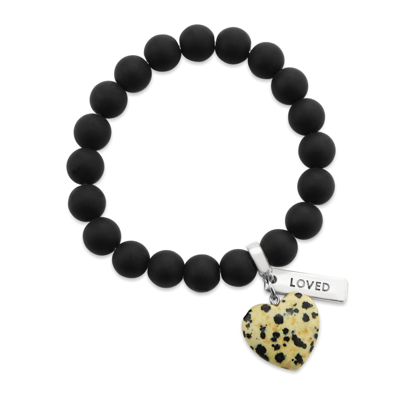 SWEETHEART Bracelet - 10mm MATT BLACK ONYX stone beads with DALMATIAN STONE Heart & Word Charm
