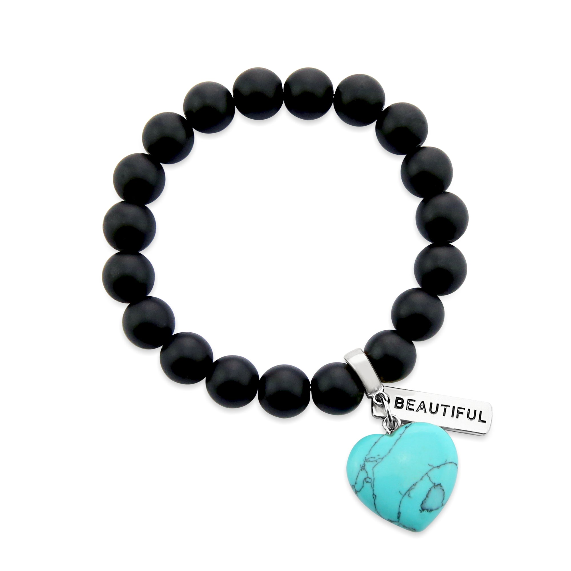 SWEETHEART Bracelet - 10mm MATT BLACK ONYX stone beads with TURQUOISE Heart & Word Charm (5005)