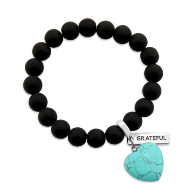 SWEETHEART Bracelet - 10mm MATT BLACK ONYX stone beads with TURQUOISE Heart & Word Charm