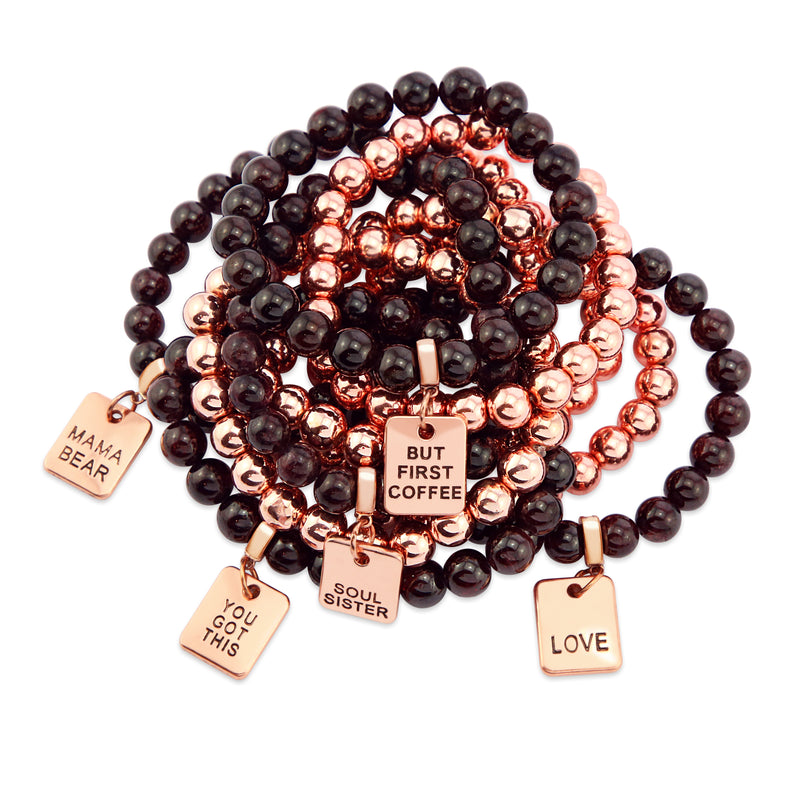 Bracelet Duo! Rose Gold & Garnet bead bracelet stacker set - BUT FIRST COFFEE (10665)