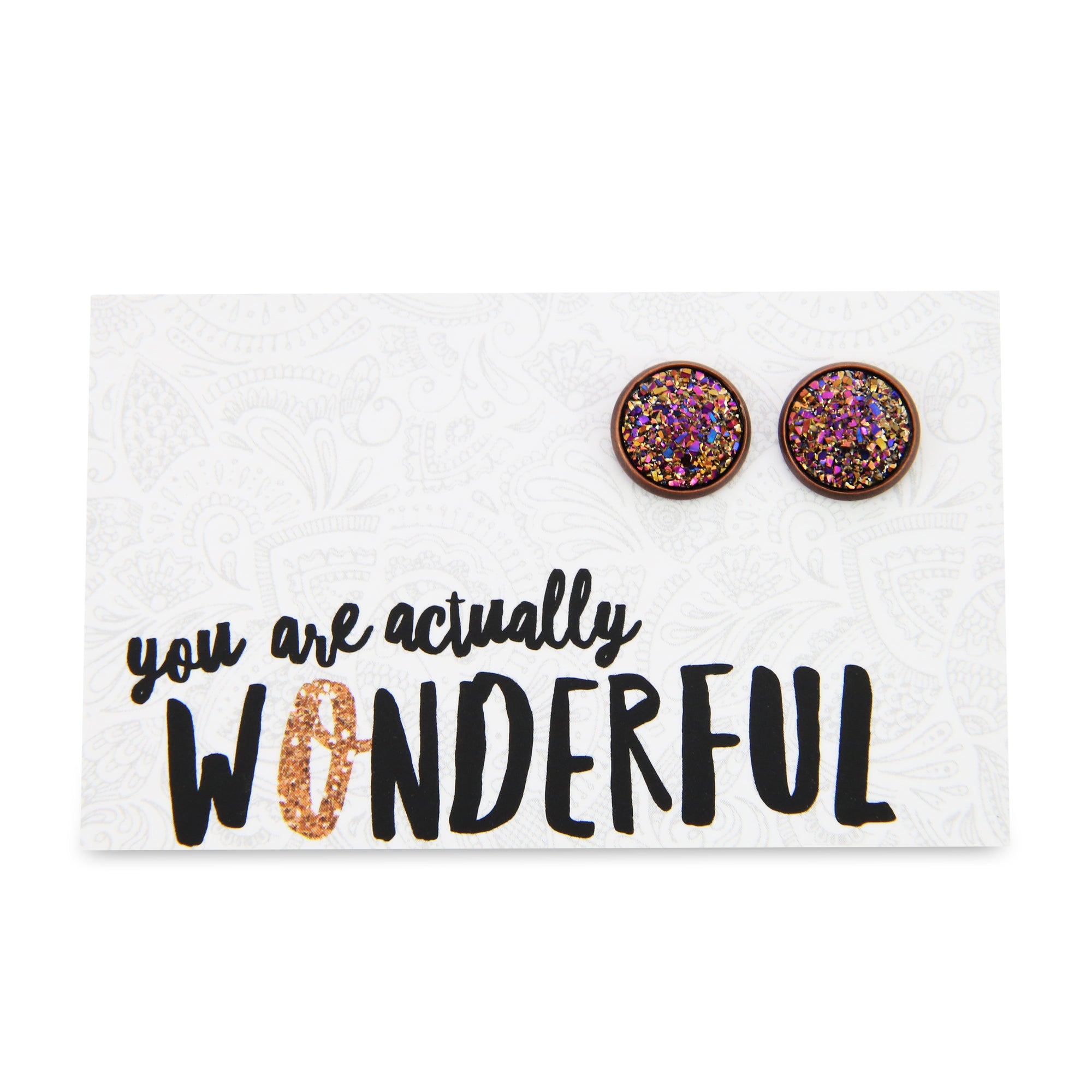 SPARKLEFEST - You Are Actually Wonderful - Metallic Druzy Earrings set in Copper - Gloss (9110)