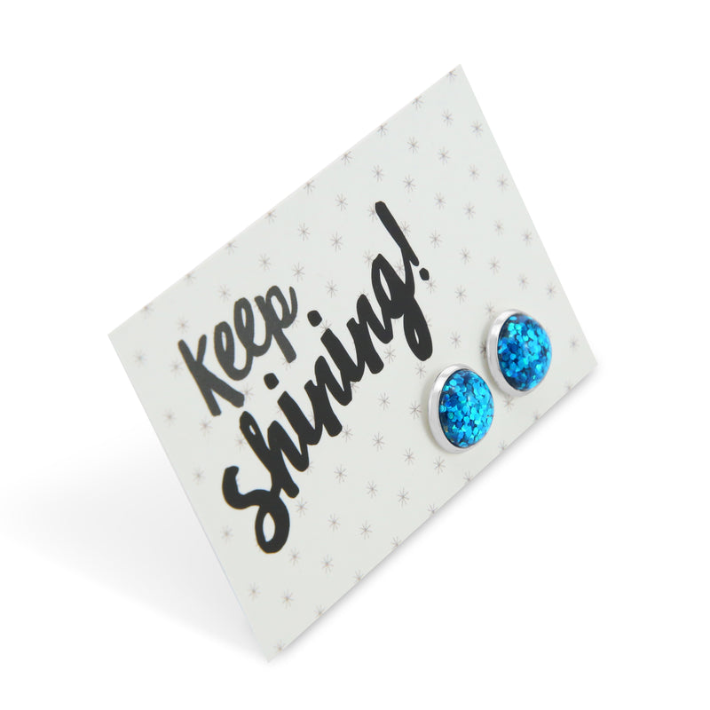 SPARKLEFEST - Keep Shining - Aqua Glitter in Silver Earrings - Aquarium (9109)