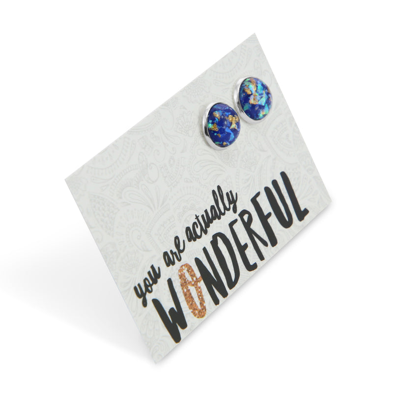 SPARKLEFEST - You Are Actually Wonderful - Chunky Gold Leaf Glitter in Blue Resin Earrings set in Silver - Galaxy(9113)