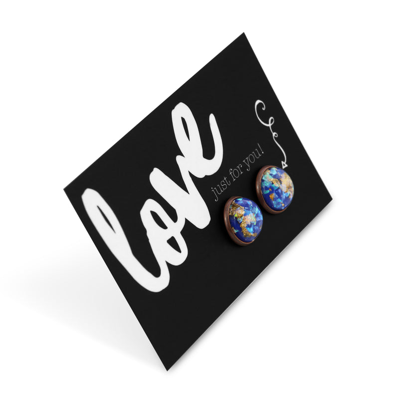SPARKLEFEST - Love Just For You - Chunky Gold Leaf Glitter in Blue Resin Earrings set in Copper - Galaxy (9901)