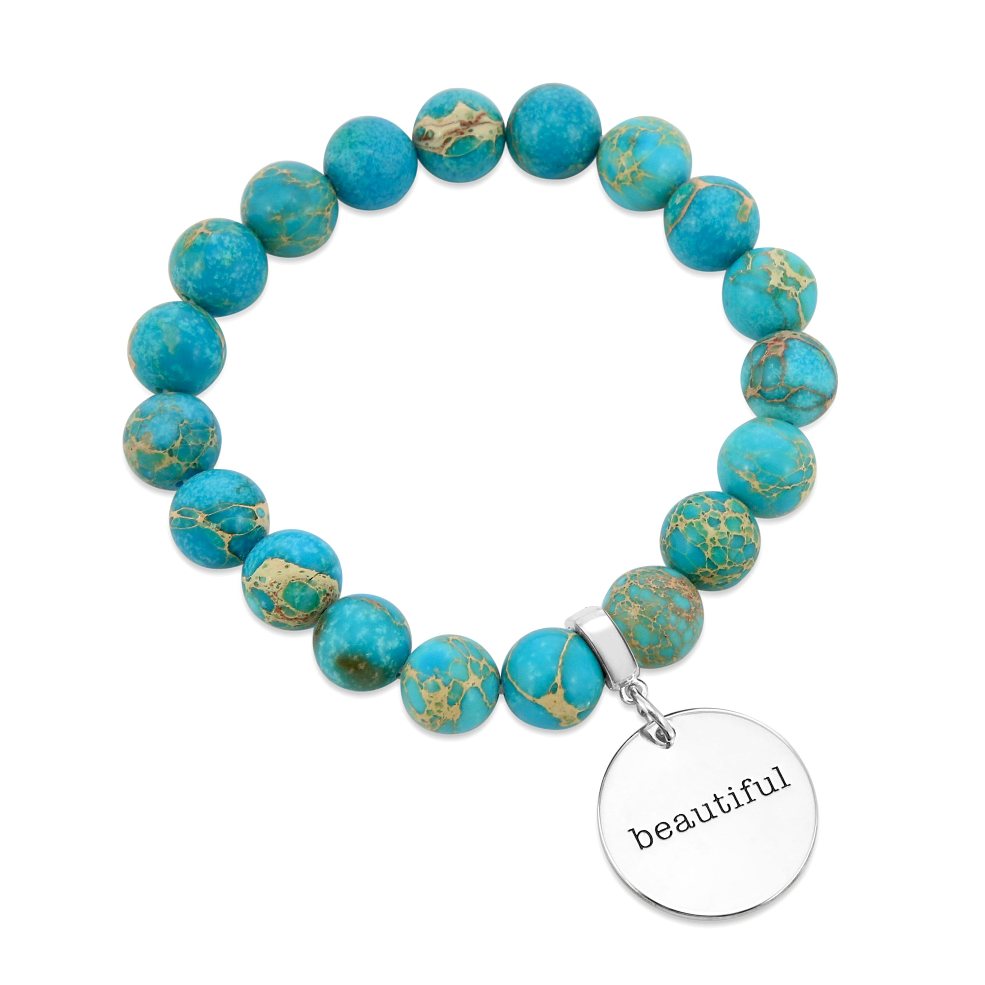 Precious Stone Bracelet ' BEAUTIFUL ' Imperial Jasper 10MM BEADS - Lagoon (5003-7)