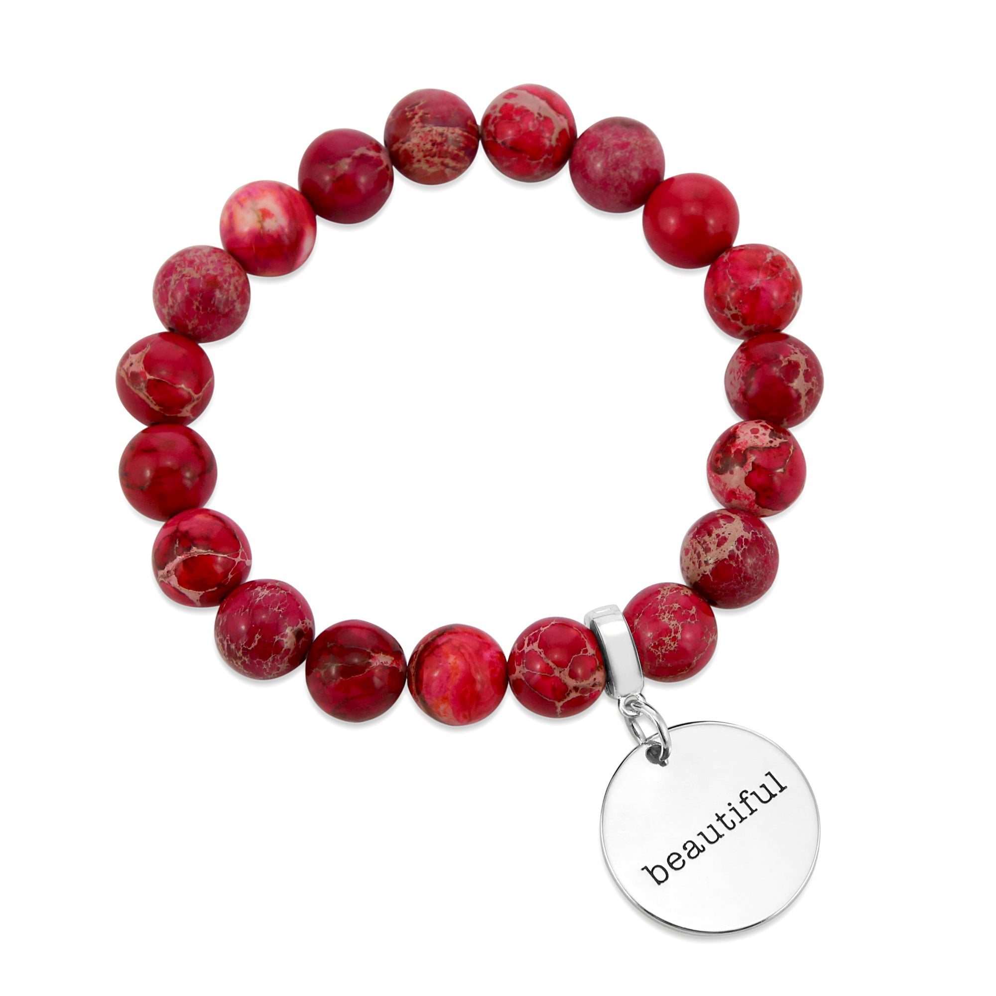 Precious Stone Bracelet ' BEAUTIFUL ' Imperial Jasper 10MM BEADS - Fuchsia Fiesta (5003-5)