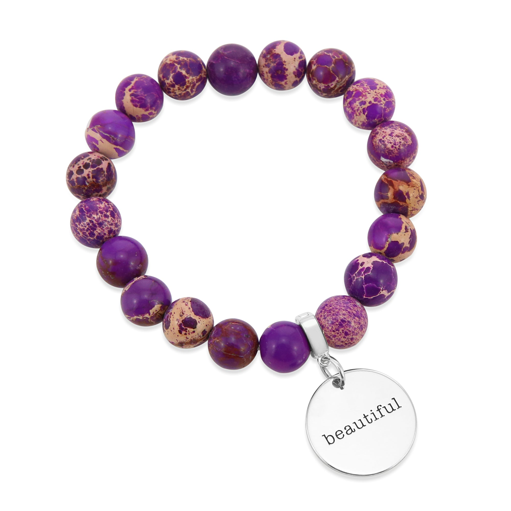 Precious Stone Bracelet ' BEAUTIFUL ' Imperial Jasper 10MM BEADS - Purple Paradise (11535)