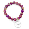 Precious Stone Bracelet ' BEAUTIFUL ' Imperial Jasper 10MM BEADS - Magenta Magic (5003-6)