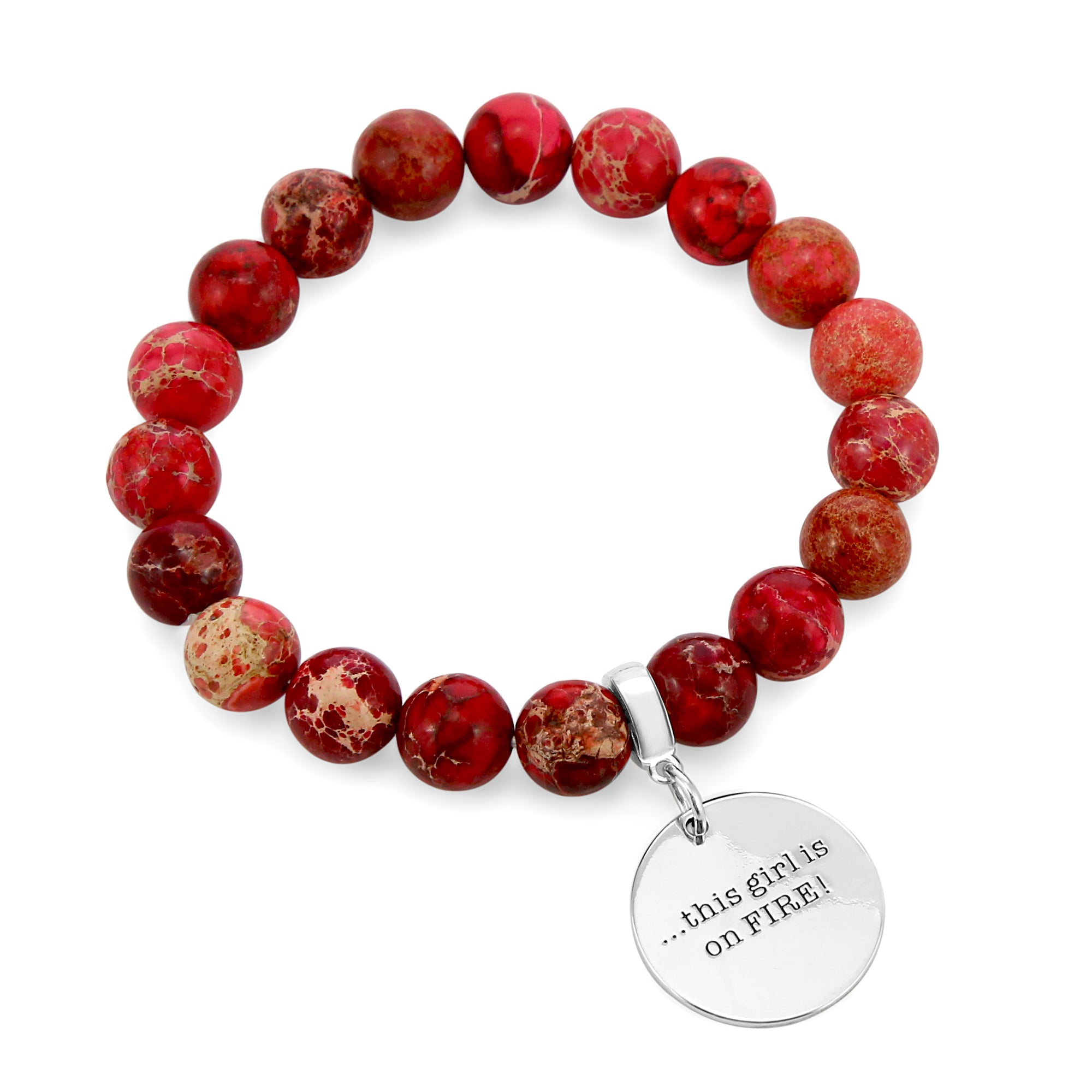 Precious Stone Bracelet ' THIS GIRL IS ON FIRE ' Imperial Jasper 10MM BEADS - Cardinal Red (11551)