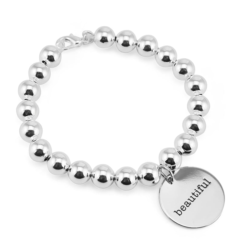 Silver Ball Bracelet 8mm - Beautiful (5022-7)