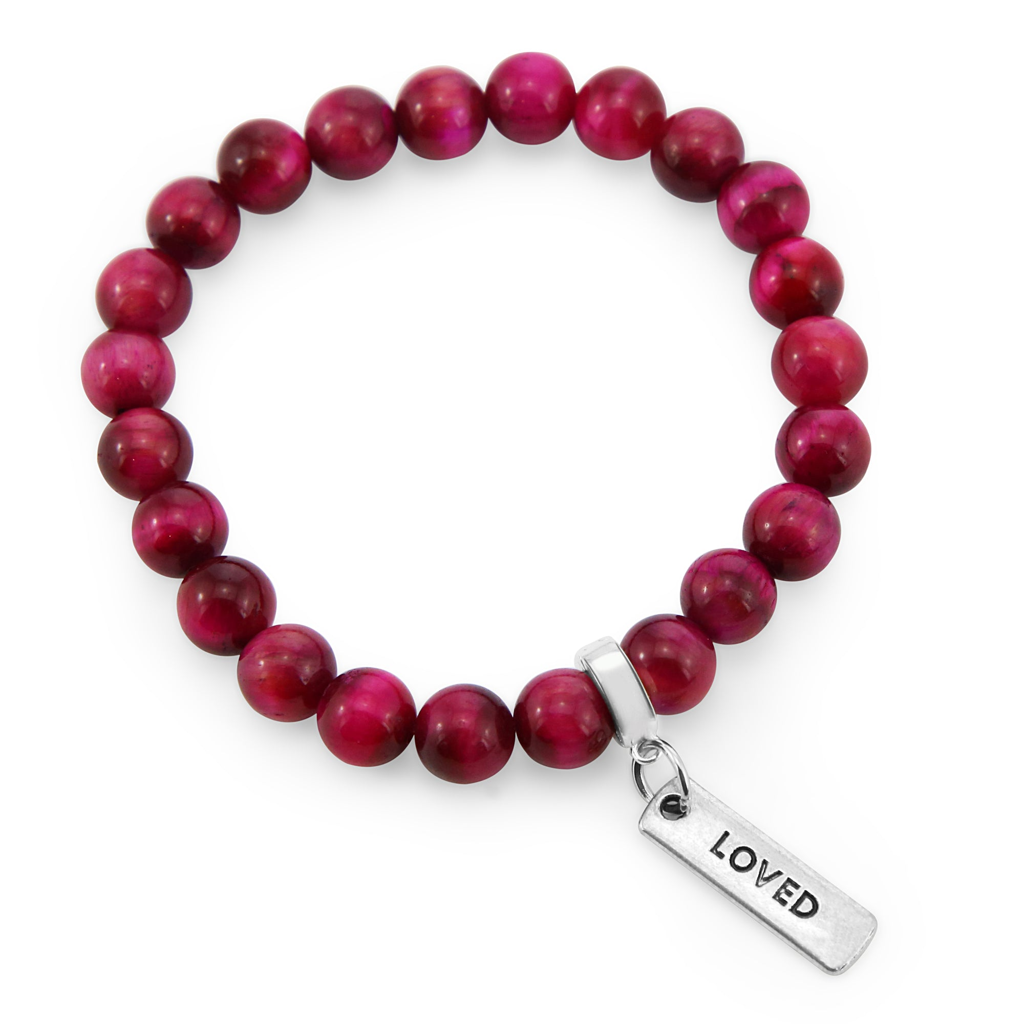 LIMITED EDITION Precious Stones - Bright Fuchsia Tigers Eye 8mm bead bracelet - with Word Charms