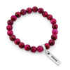Precious Stones - Bright Fuchsia Tigers Eye 8mm bead bracelet - with Word Charms