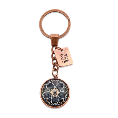 Vintage Rose Gold Keyring with 'YOU GOT THIS' charm - Buttercup (10154)