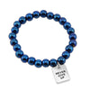 The STRONG WOMEN Collection Hematite Bracelet 8mm Beads with word charm - Brilliant Blue