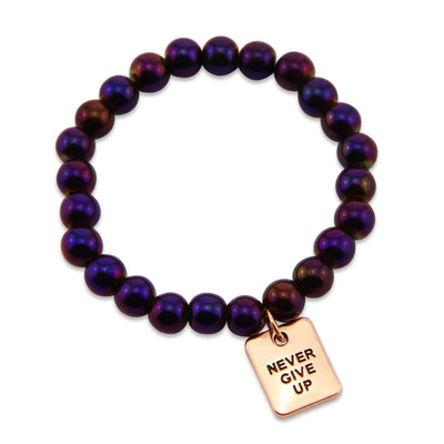 The STRONG WOMEN Collection Hematite Bracelet 8mm Beads with word charm - Purple Powerhouse