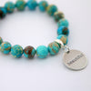 Precious Stone Bracelet ' BEAUTIFUL ' Imperial Jasper 10MM BEADS - Lagoon (11544)
