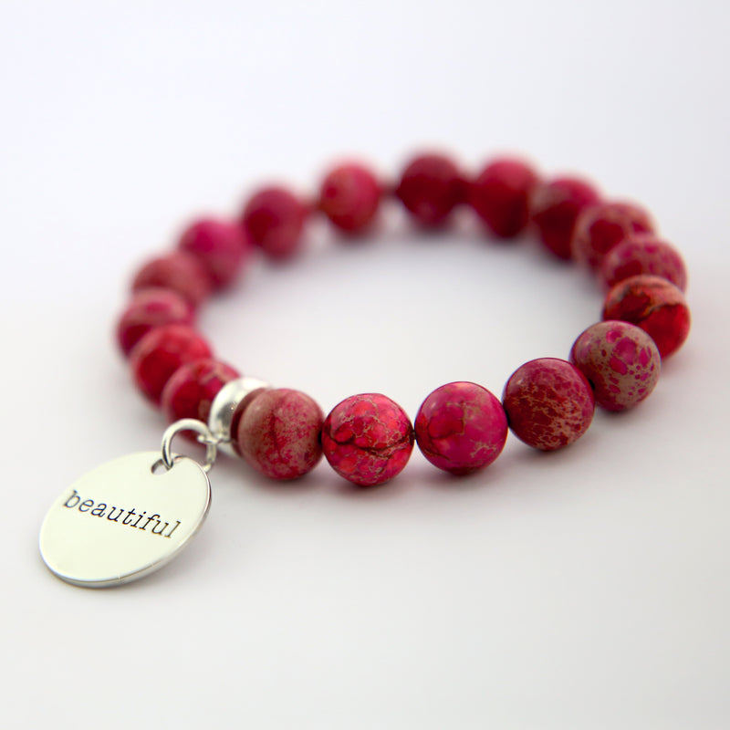 Precious Stone Bracelet ' BEAUTIFUL ' Imperial Jasper 10MM BEADS - Fuchsia Fiesta (11542)