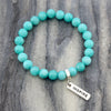 Stone Bracelet - Bright Ocean Jade 8mm beads - with Word Charm